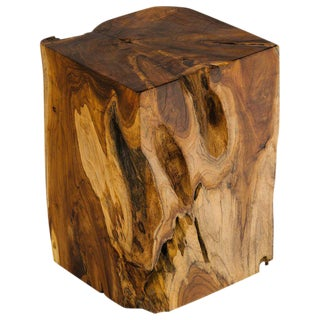 Organic Modern Indonesian Teak Wood Cube Side Table For Sale