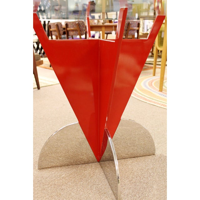 Metal Contemporary Modern Memphis Ettore Sotsass Style Red Iron Glass Dining Table For Sale - Image 7 of 9