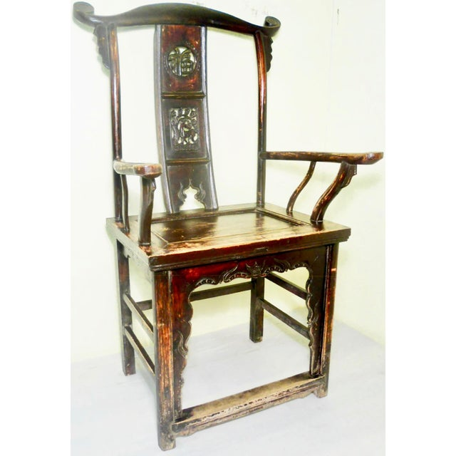 Antique Chinese High Back Arm Chair - Image 2 of 11