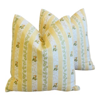 "Yellow French Floral Stripe Rose Feather/Down Pillows 19"" Square - Pair For Sale"