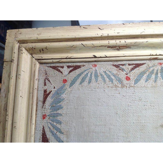 Blue Pair of Antique Painted Canvas Window Panels For Sale - Image 8 of 13