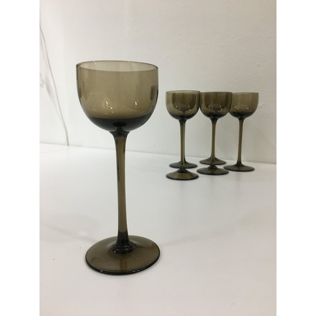 Carlo Moretti Vintage Warm Gray Smoked Glass Liqueur Goblets by Carlo Moretti - Set of 6 For Sale - Image 4 of 9