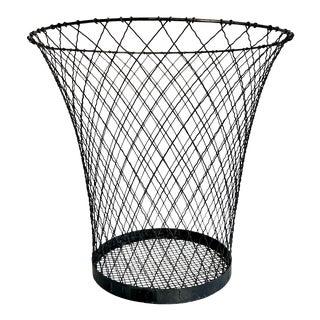 Vintage Industrial Metal Wire Wastebasket Bin For Sale