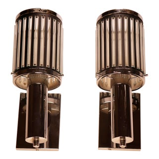 French Art Deco Ribbed Glass Sconces in the Style of Petito - a Pair For Sale