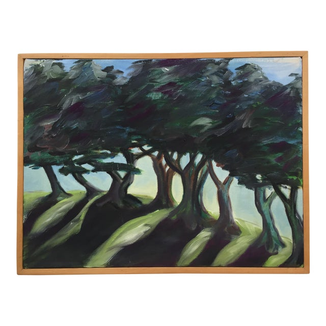Landscape Painting of Trees on Framed Canvas For Sale