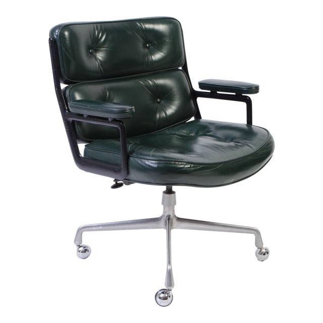 Eames Green Leather Time Life Chair for Herman Miller For Sale