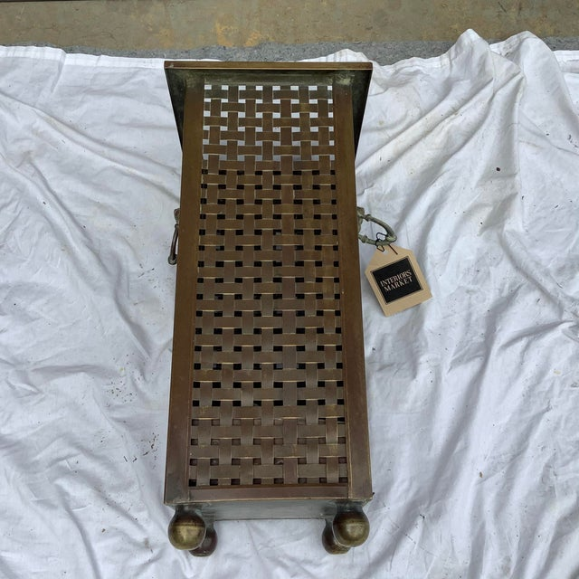1970s Italian Woven Brass Umbrella Stand For Sale - Image 5 of 9