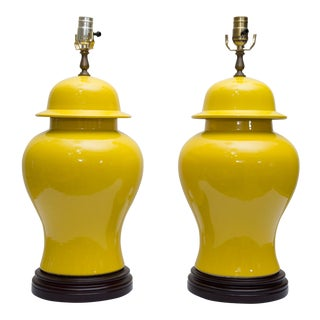 Pair of Yellow Asian Lidded Vases as Lamps For Sale