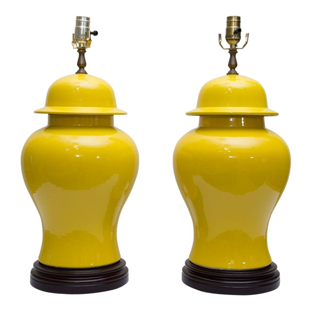Pair of Yellow Asian Lidded Vases as Lamps - Image 1 of 6