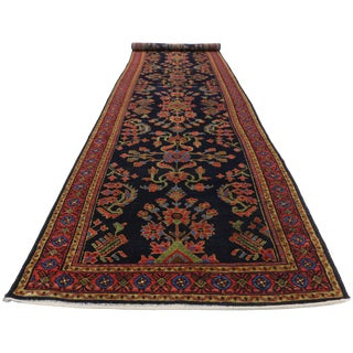 Antique Persian Malayer Rug Runner With Mina Khani - 3'5 X 16'4 For Sale