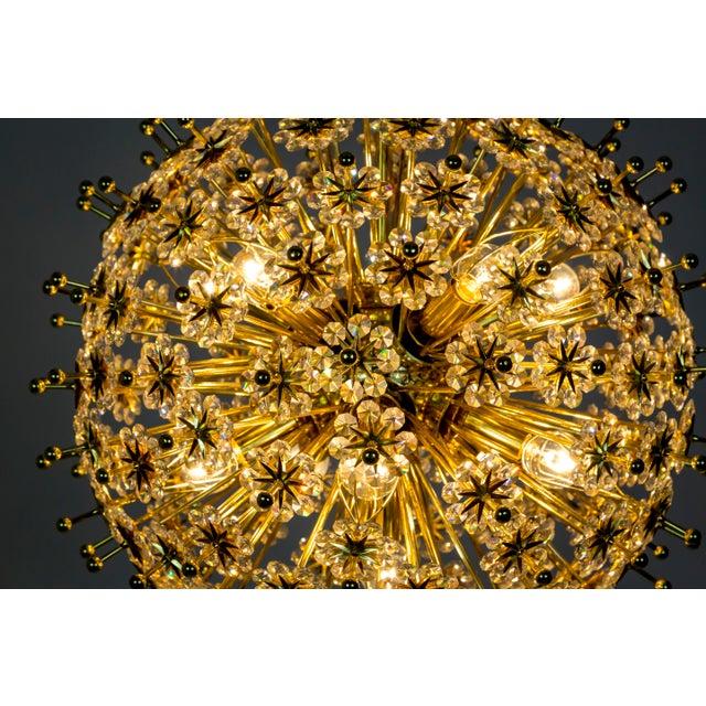 Metal Crystal & Brass Sparkling Sunburst Chandelier (2 Available) For Sale - Image 7 of 10