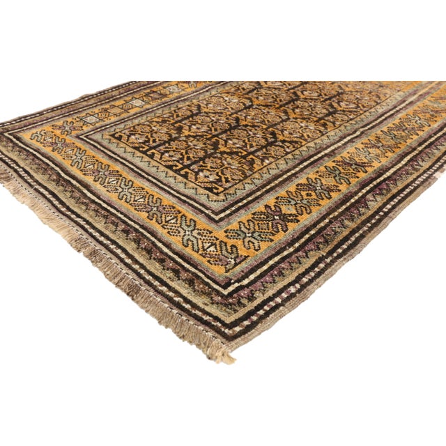 76431 Vintage Shiraz Persian Tribal Rug with Mid-Century Modern Style. Features an all-over and repetitive geometric...