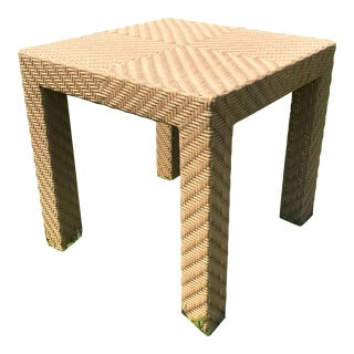 Oscar Dela Renta Cane and Wood End Table For Sale