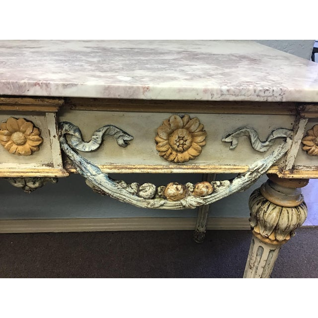 19th Century Italian Marble Top Console Table For Sale - Image 10 of 12