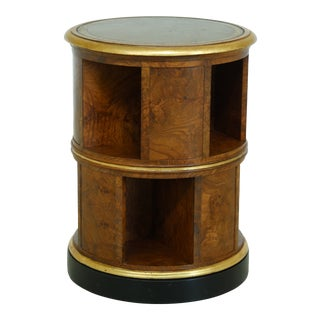 English Style Revolving Bookcase Table W. Leather Top For Sale