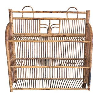 Mid Century Pencil Reed Rattan Burnt Bamboo Wall Shelf For Sale