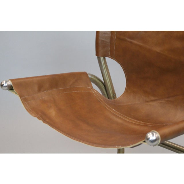 Mid-Century Italian Leather & Aluminum Chairs - A Pair - Image 5 of 6