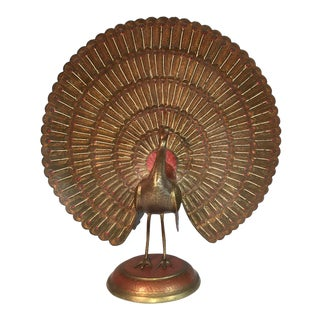 Mid-Century Brass Peacock Statue From India