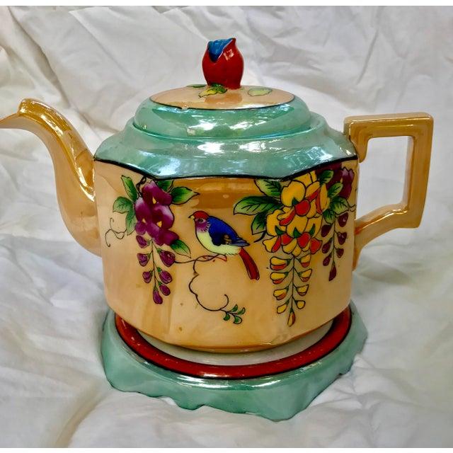 Art Deco Japanese Lustreware Teapot on Base With Bird Theme - 3 Piece Set - Image 3 of 7