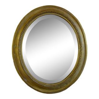 Distressed Gilt Oval Antiqued Mirror Hung by Rope For Sale