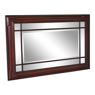 1990s Vintage Beveled Glass Mahogany Mirror For Sale