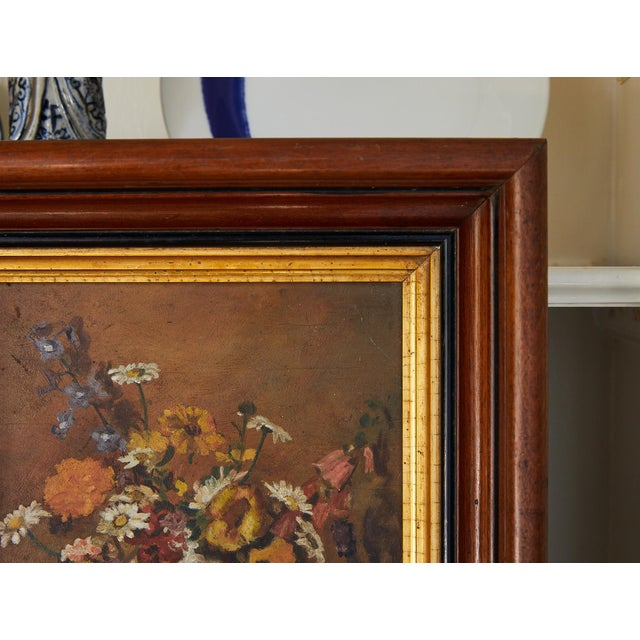 Art Deco Impressionistic Still Life of Wildflowers and Duck Figurine For Sale - Image 3 of 12