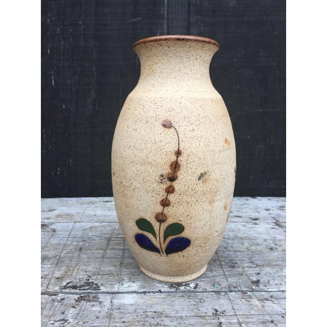 Boho Chic Hand Painted Bird Vase For Sale - Image 3 of 9