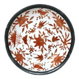 Image of Vintage Japanese Chinoiserie Porcelain Lead Rim Dish For Sale
