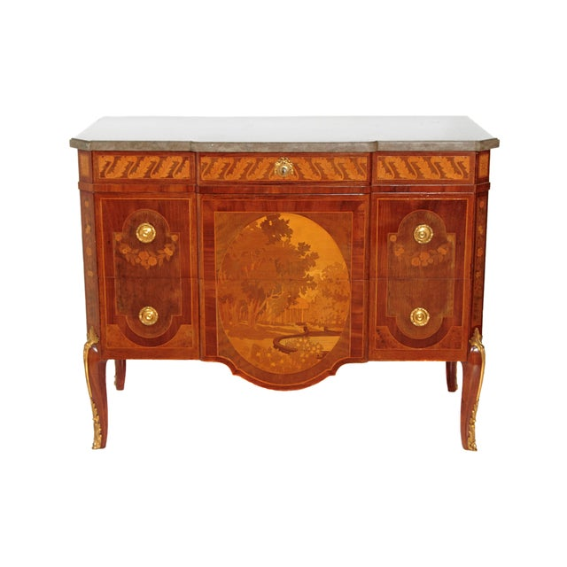 French Ormolu Mounted Fruitwood Chest With Shaped Marble Top - Image 1 of 10