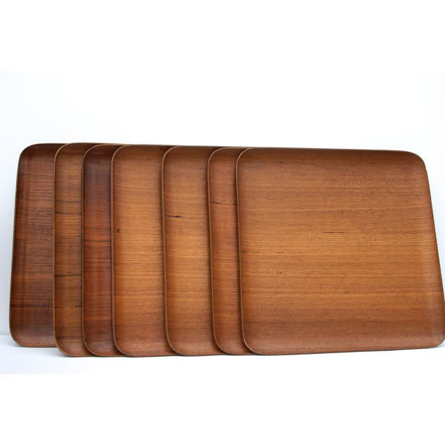 Mid-Century Teak Trays - Set of 7 - Image 4 of 8
