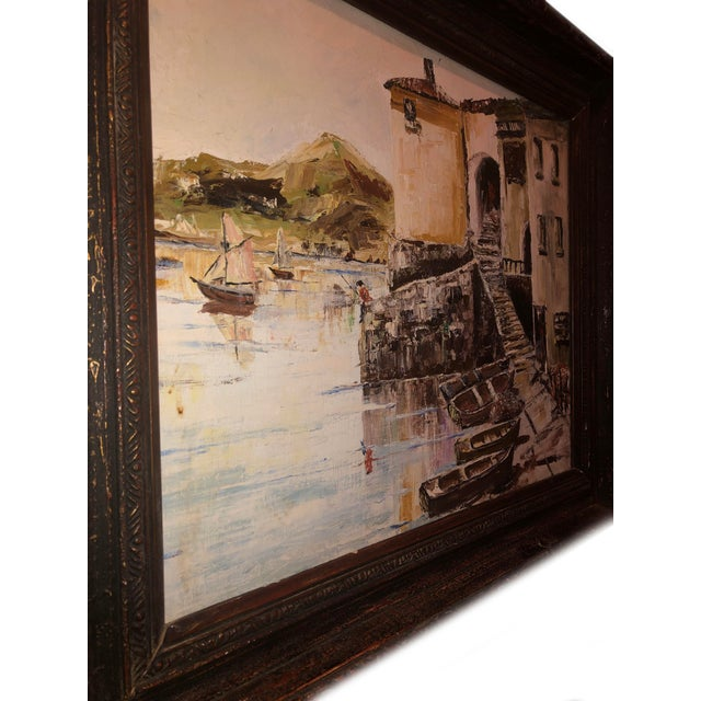 Paint Nautical Painting of French Seaside Fishing Village For Sale - Image 7 of 9
