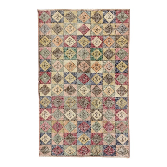 Vintage Turkish Colorful Deco Rug - 4′5″ × 7′2″ For Sale