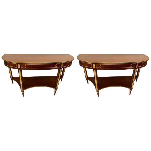 Demilune Mahogany Bronze Mounted Russian Neoclassical Consoles - a Pair For Sale