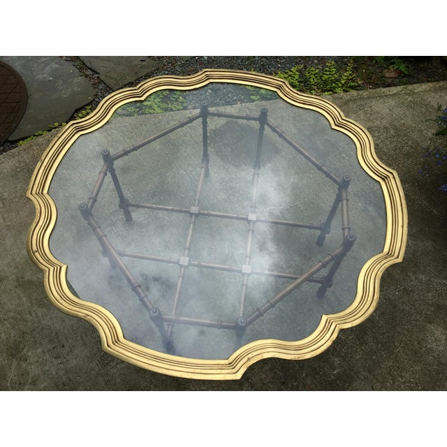 20th Century Chinoiserie Style Glass & Brass Cocktail Tray Table For Sale - Image 12 of 13
