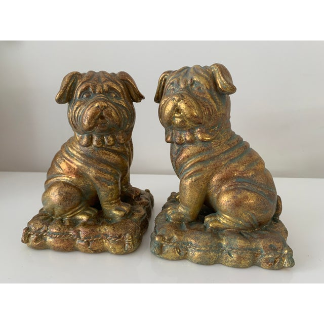 """Traditional """"Borghese"""" Gilt Pug Bookends - a Pair For Sale - Image 3 of 9"""