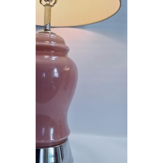 Metal Vintage Pink Glass and Chrome Table Lamps - a Pair - Restored - Mid Century Modern Palm Beach Boho Chic Murano Style For Sale - Image 7 of 12
