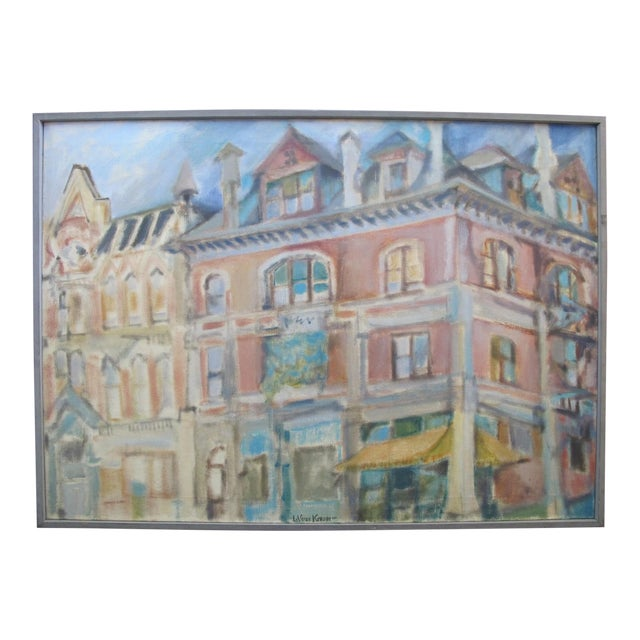 1957 LaVerne Krause Signed Idaho Coeur d'Alene Building Framed Oil Painting For Sale
