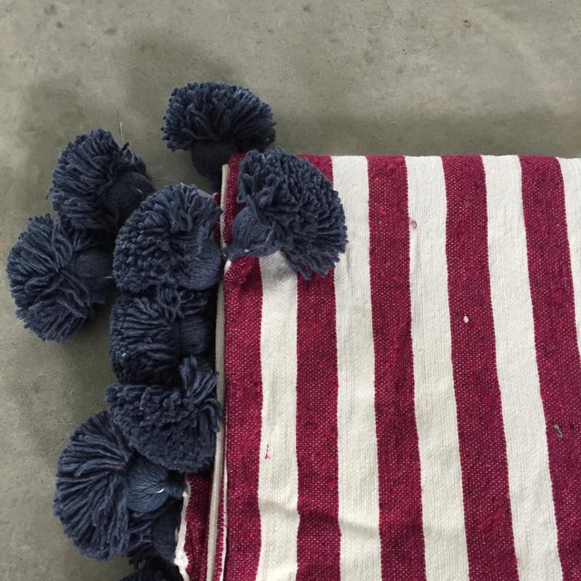 Islamic Raspberry White Chambray Pompom Throw For Sale - Image 3 of 5