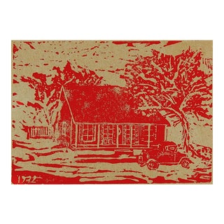 1972 Rustic Cabin Woodblock Print For Sale