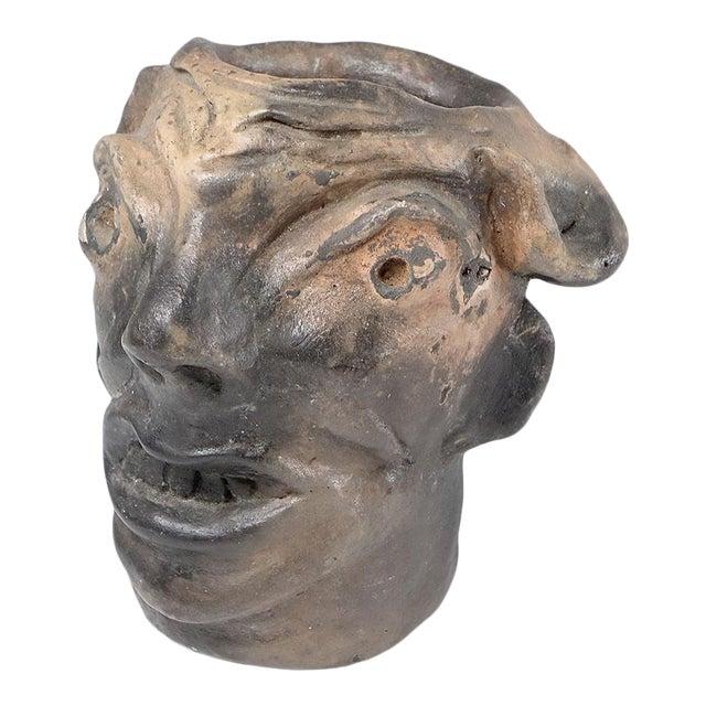Georgia Blizzard Vintage Folk Art Old Devil Pottery Sculpture Face Jug Cup For Sale