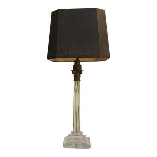 Crystal & Gilt Bronze Corinthian Column Lamp For Sale