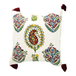Alamwar Paisley Tashkent Istanbul Pillow Cover With Tassels For Sale