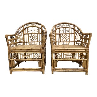 Chinese Chippendale Bamboo Armchairs, a Pair For Sale