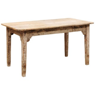 French 19th Century Wood Table With Original Cream Paint For Sale