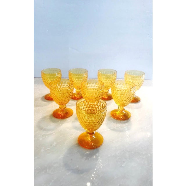 Hollywood Regency Vintage Crystal Amber Colored Wine Glasses by Villeroy & Boch, Set of Eight For Sale - Image 3 of 13