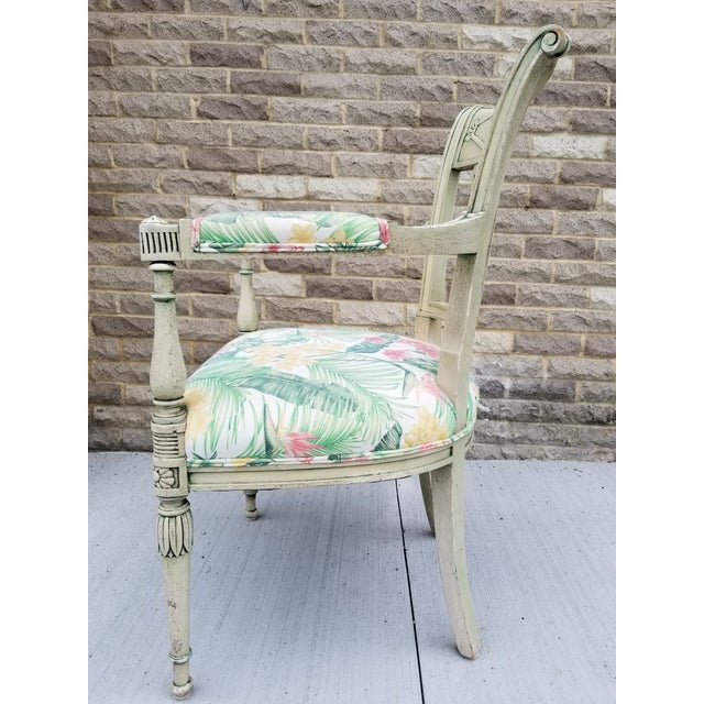 Wood Italian Neoclassical Painted Armchair For Sale - Image 7 of 13