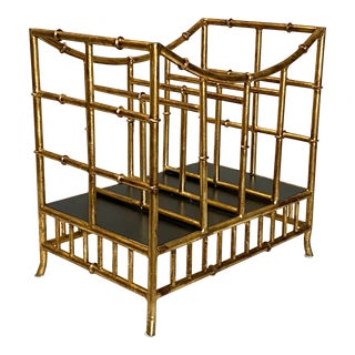 Beautiful Vintage Gilt Gold Canterbury Magazine Rack Stand Asian Style Fabulous For Sale