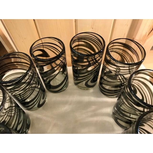 Vintage Hand-Blown Black Swirl Tumbler Glasses - Set of 10 - Image 7 of 11