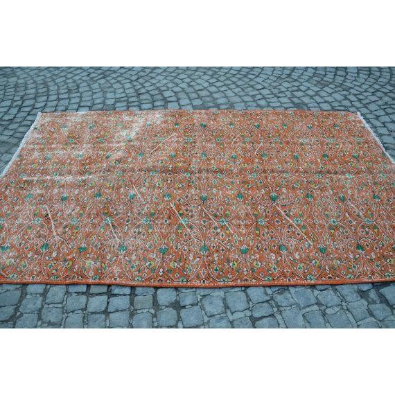 Vintage Handwoven Floral Design Turkish Oushak Rug - 5′2″ × 9′ For Sale - Image 4 of 6