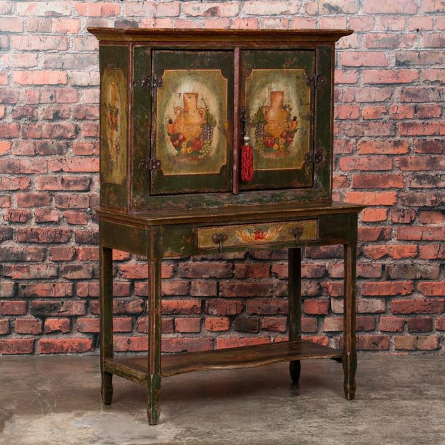20th Century Traditional Two Door Hand Painted Cabinet For Sale - Image 9 of 9